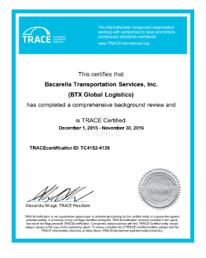 BTX is now TRACE Certified